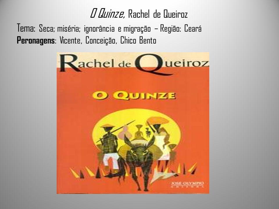 O Quinze, Rachel de Queiroz Tema: Seca; miséria; ignorância e migração – Região: Ceará Peronagens: Vicente, Conceição, Chico Bento