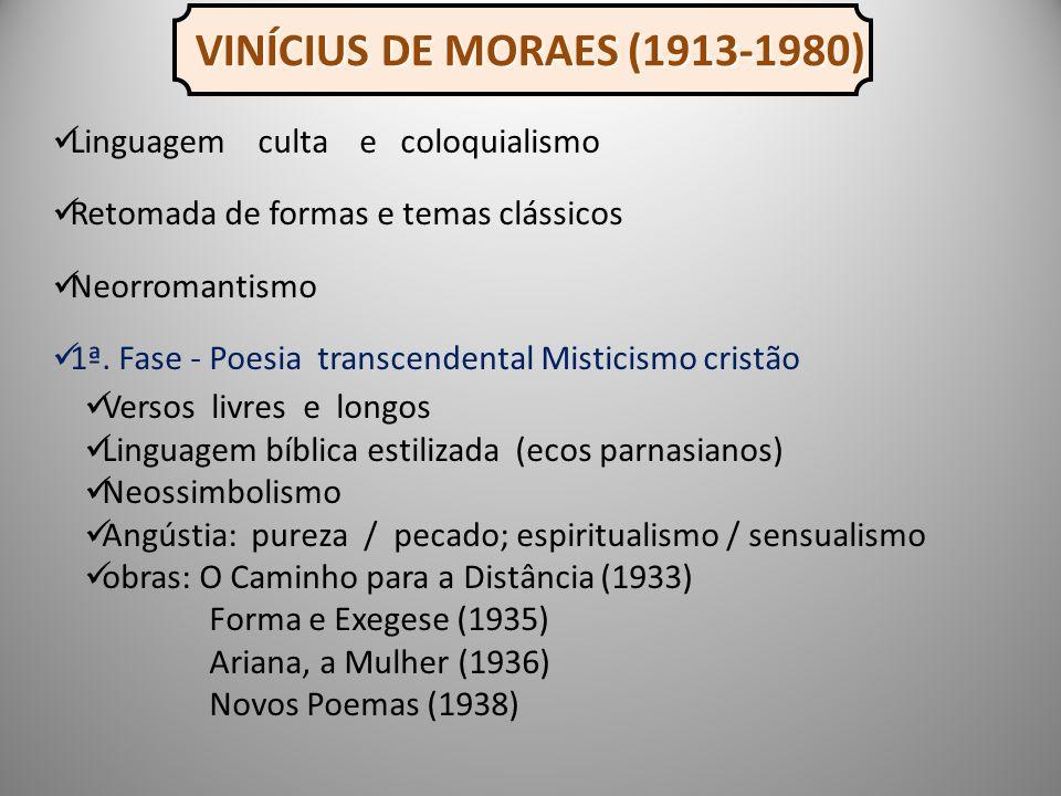 VINÍCIUS DE MORAES (1913-1980) Linguagem culta e coloquialismo