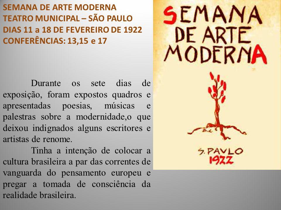 SEMANA DE ARTE MODERNA TEATRO MUNICIPAL – SÃO PAULO. DIAS 11 a 18 DE FEVEREIRO DE 1922. CONFERÊNCIAS: 13,15 e 17.