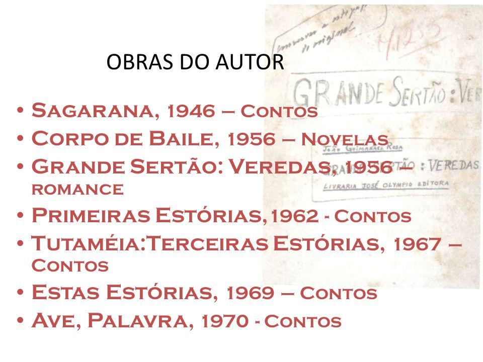 OBRAS DO AUTOR Sagarana, 1946 – Contos Corpo de Baile, 1956 – Novelas