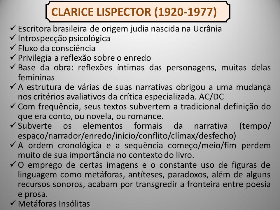 CLARICE LISPECTOR (1920-1977) Escritora brasileira de origem judia nascida na Ucrânia. Introspecção psicológica.