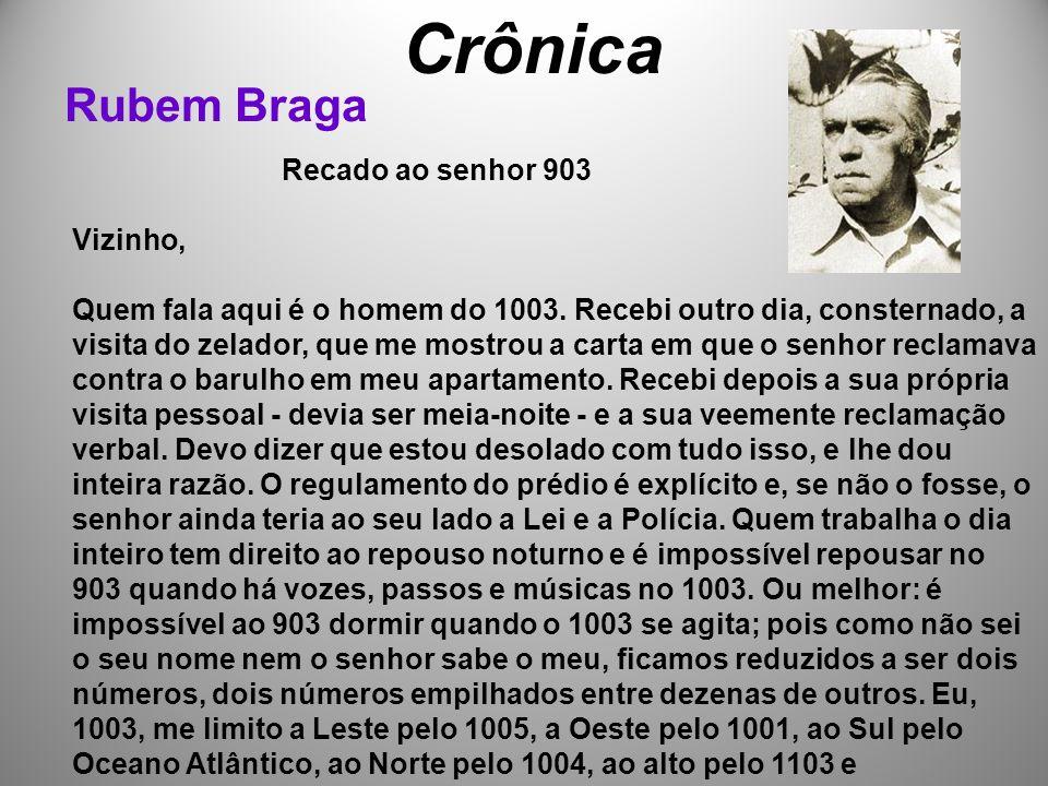 Crônica Rubem Braga Recado ao senhor 903