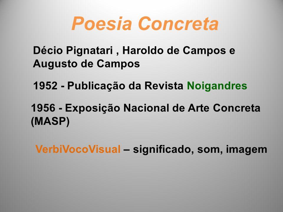 Poesia Concreta Décio Pignatari , Haroldo de Campos e Augusto de Campos. 1952 - Publicação da Revista Noigandres.