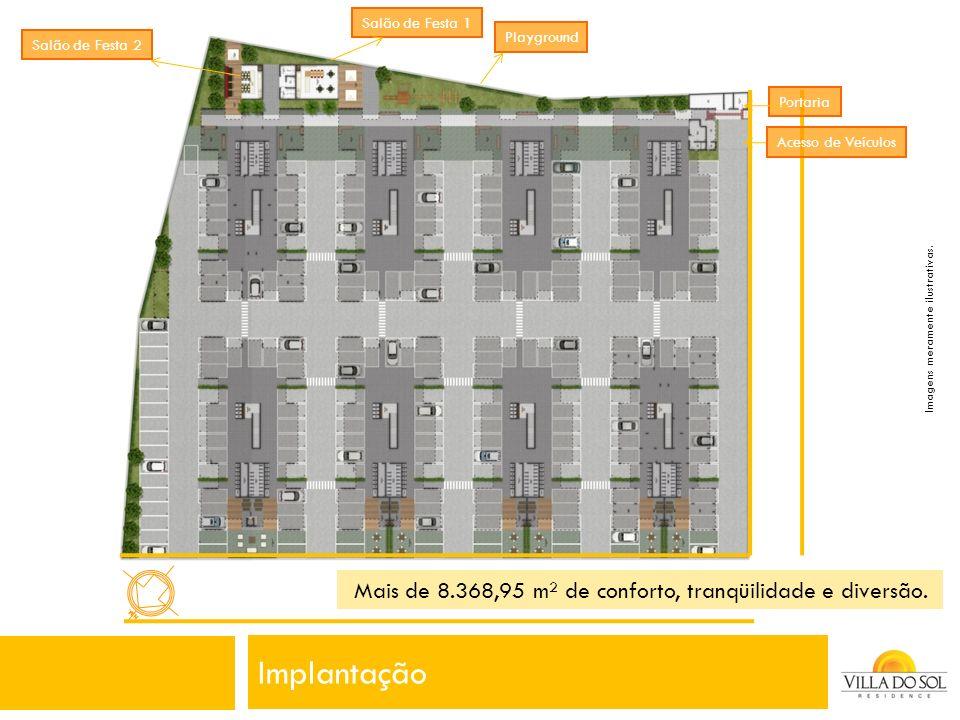 Implantação Mais de 8.368,95 m² de conforto, tranqüilidade e diversão.