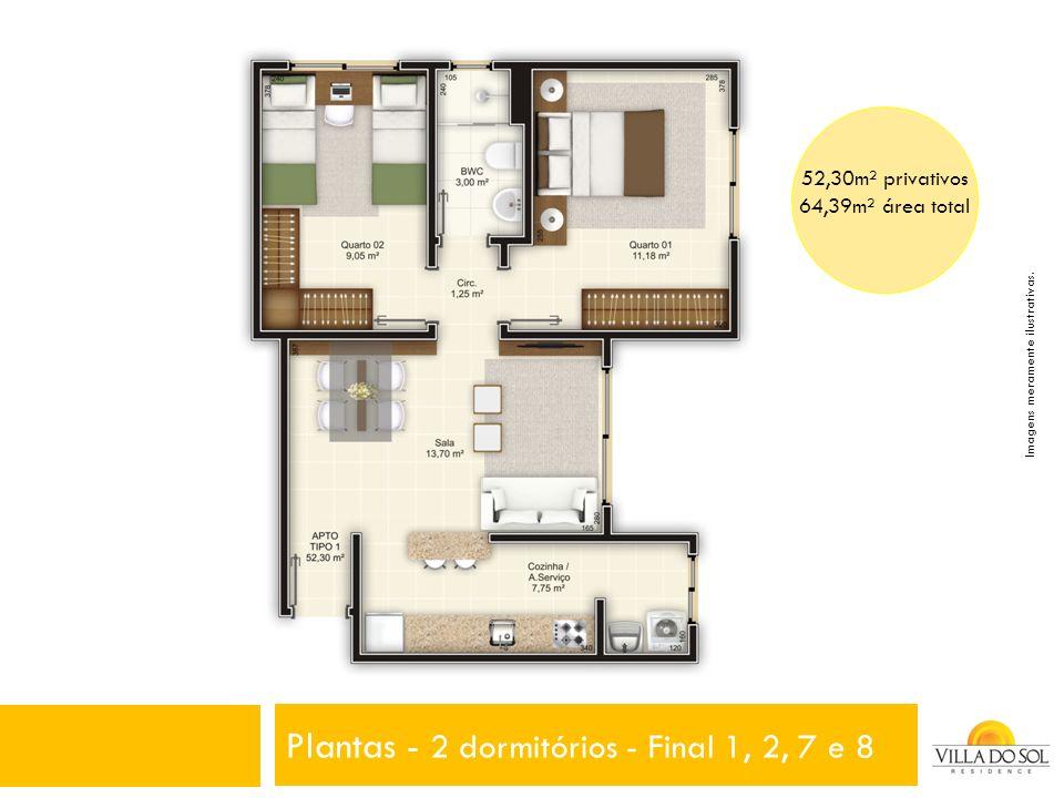 Plantas - 2 dormitórios - Final 1, 2, 7 e 8