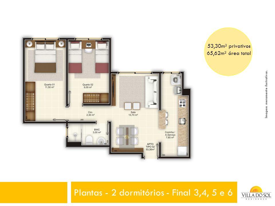 Plantas - 2 dormitórios - Final 3,4, 5 e 6