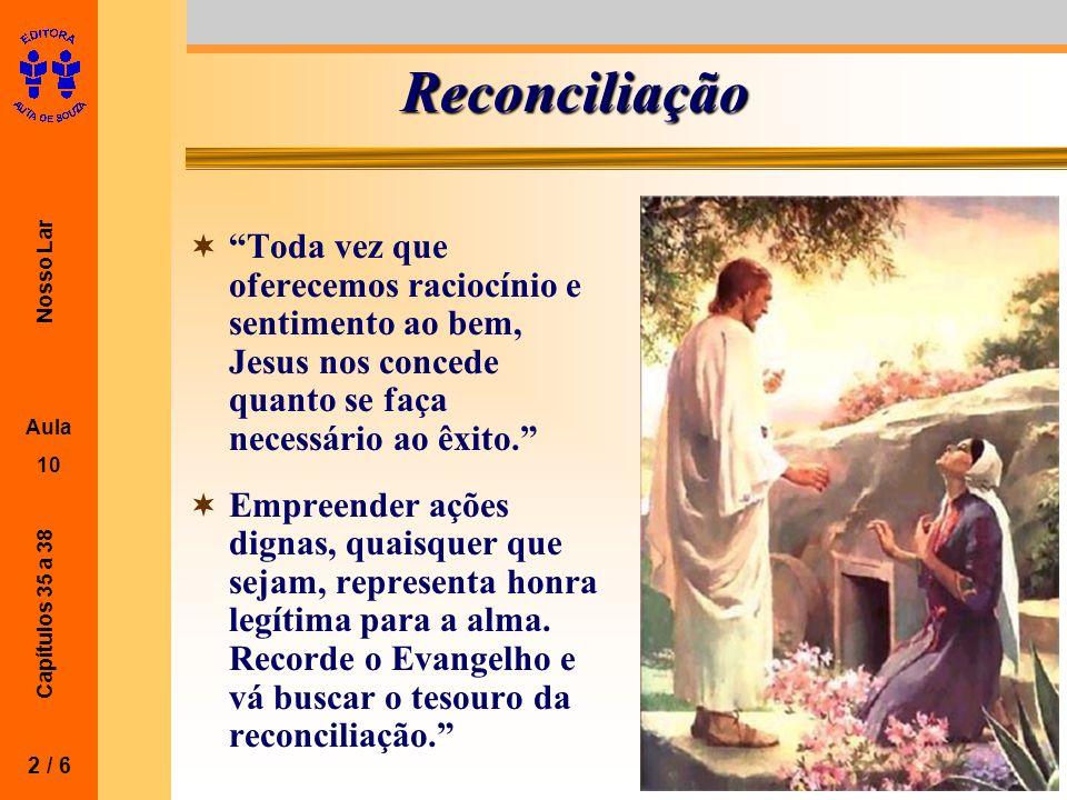 Reconciliação Toda vez que oferecemos raciocínio e sentimento ao bem, Jesus nos concede quanto se faça necessário ao êxito.