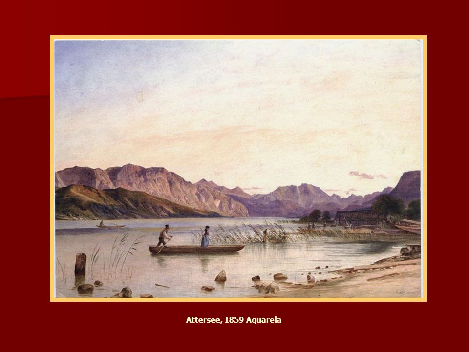 Attersee 1859 Aquarell Attersee, 1859 Aquarela