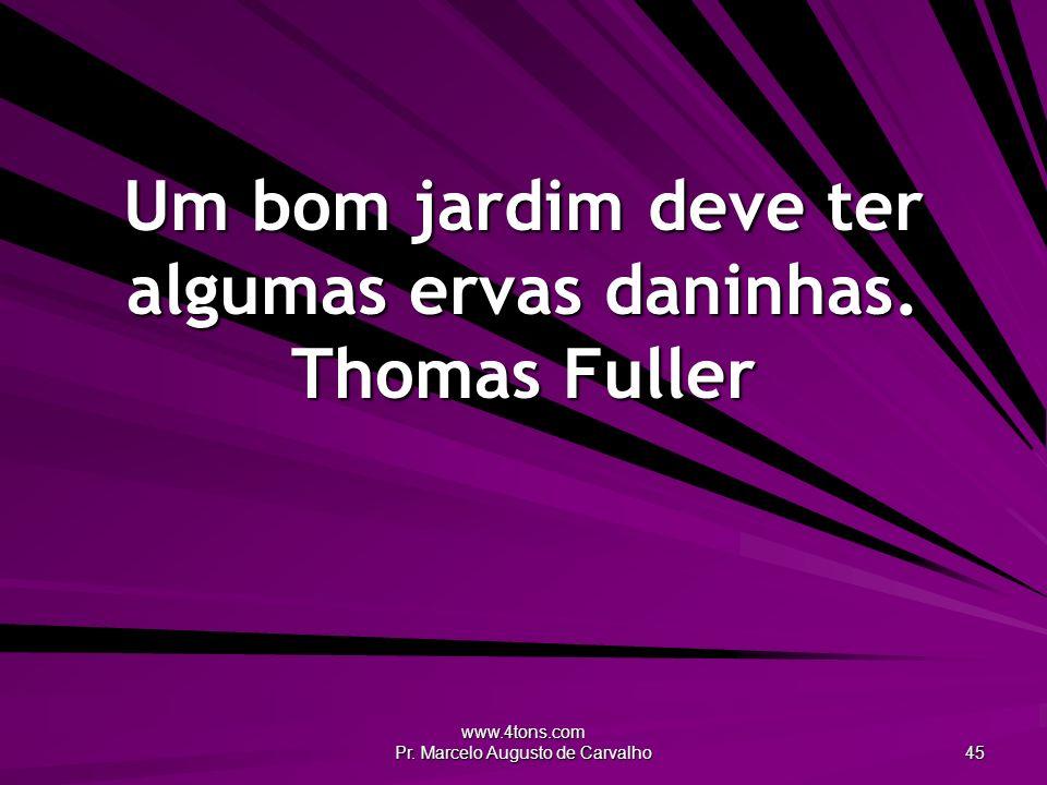 Um bom jardim deve ter algumas ervas daninhas. Thomas Fuller