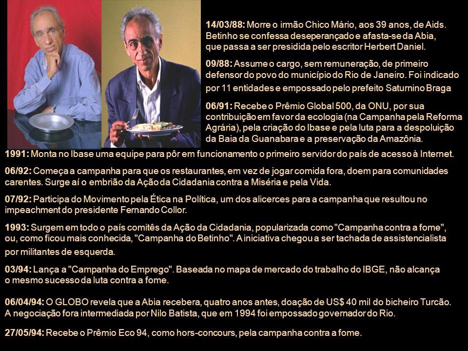 14/03/88: Morre o irmão Chico Mário, aos 39 anos, de Aids