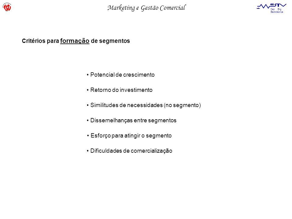 Critérios para formação de segmentos