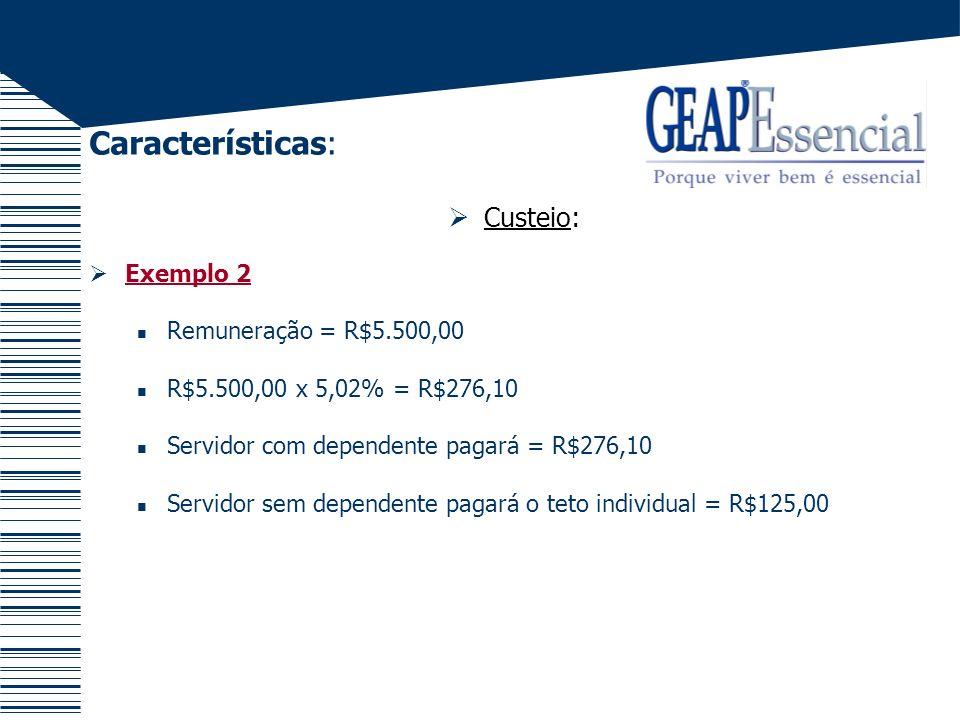 Características: Custeio: Exemplo 2 Remuneração = R$5.500,00