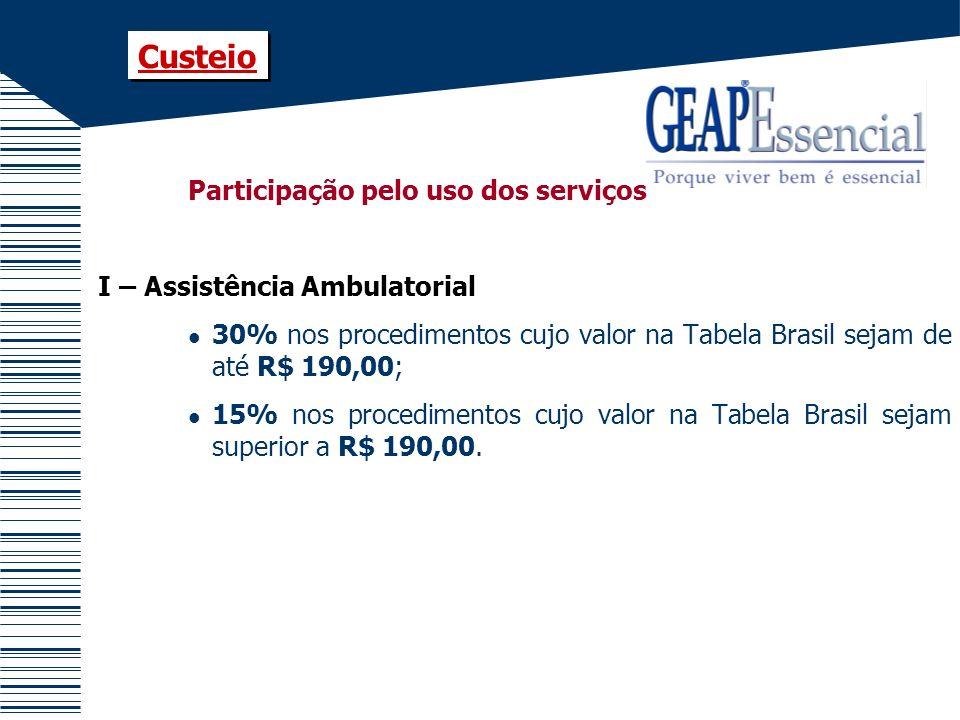 Custeio Participação pelo uso dos serviços