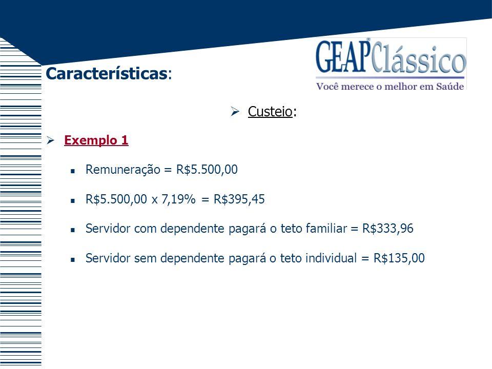 Características: Custeio: Exemplo 1 Remuneração = R$5.500,00