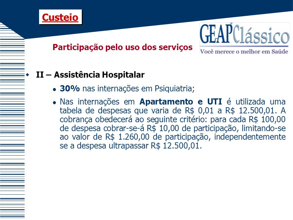 Custeio Participação pelo uso dos serviços II – Assistência Hospitalar