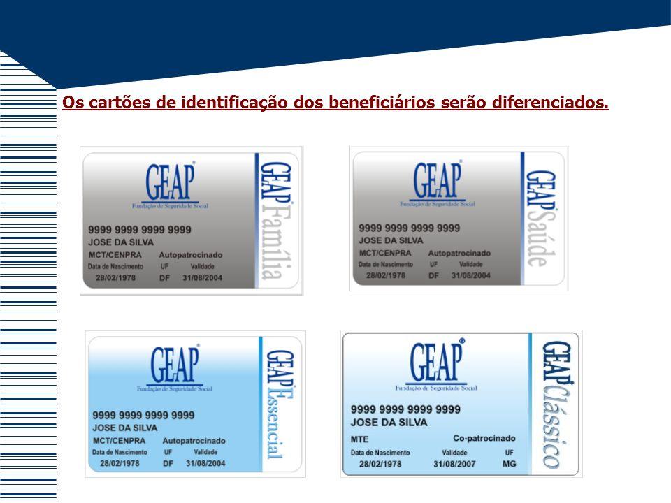 Os cartões de identificação dos beneficiários serão diferenciados.