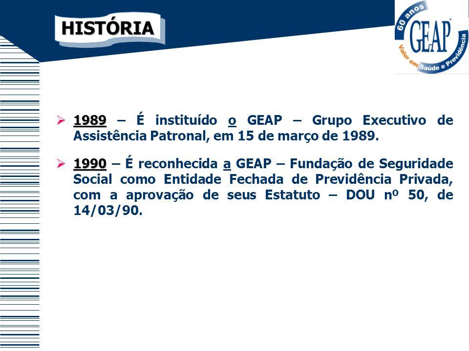 HISTÓRIA 1989 – É instituído o GEAP – Grupo Executivo de Assistência Patronal, em 15 de março de 1989.