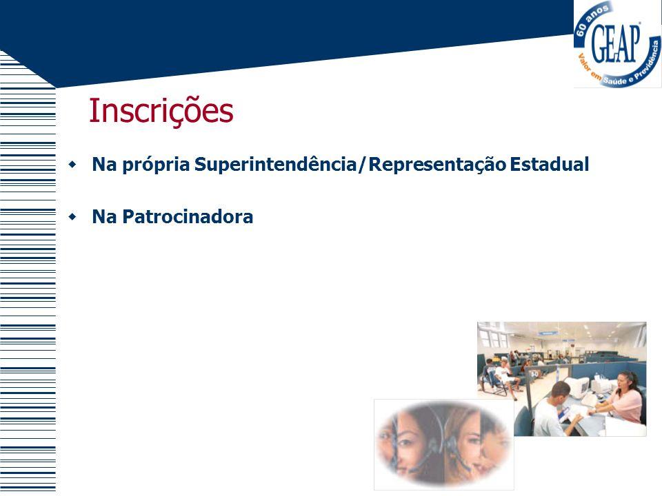 Inscrições Na própria Superintendência/Representação Estadual