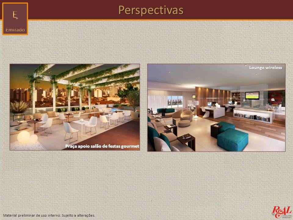 Perspectivas Lounge wireless Praça apoio salão de festas gourmet