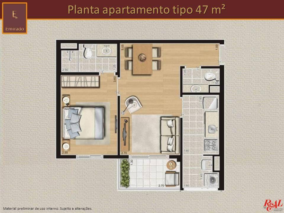 Planta apartamento tipo 47 m²
