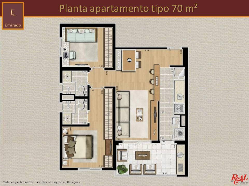 Planta apartamento tipo 70 m²