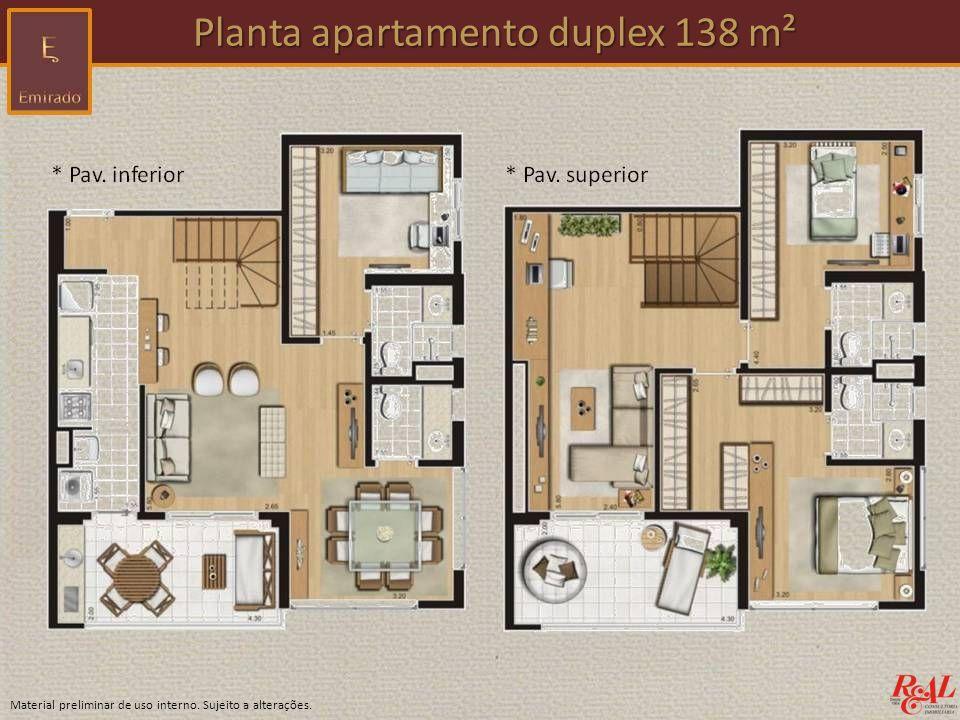 Planta apartamento duplex 138 m²