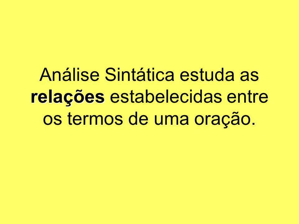 Análise Sintática estuda as relações estabelecidas entre os termos de uma oração.