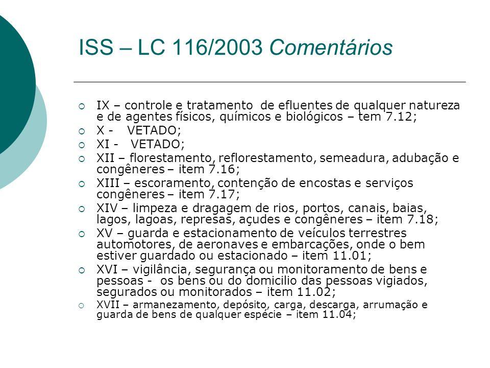 ISS – LC 116/2003 Comentários IX – controle e tratamento de efluentes de qualquer natureza e de agentes físicos, químicos e biológicos – tem 7.12;