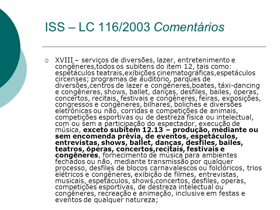ISS – LC 116/2003 Comentários