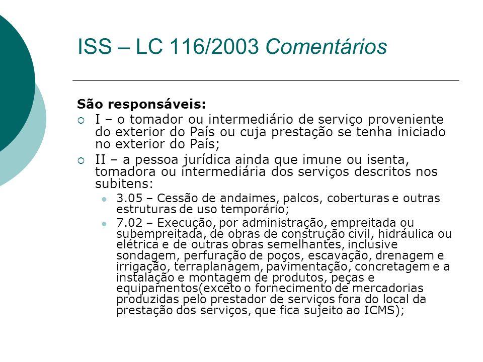 ISS – LC 116/2003 Comentários São responsáveis: