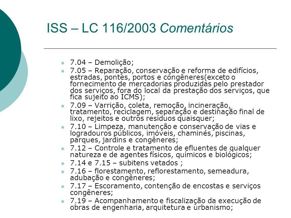 ISS – LC 116/2003 Comentários 7.04 – Demolição;