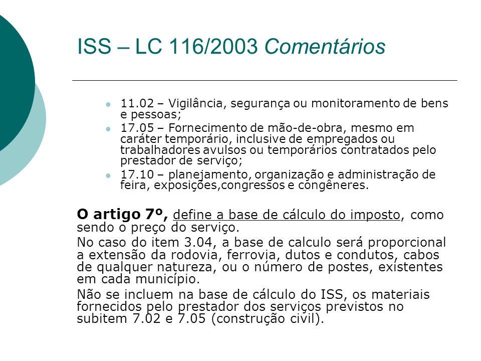 ISS – LC 116/2003 Comentários 11.02 – Vigilância, segurança ou monitoramento de bens e pessoas;