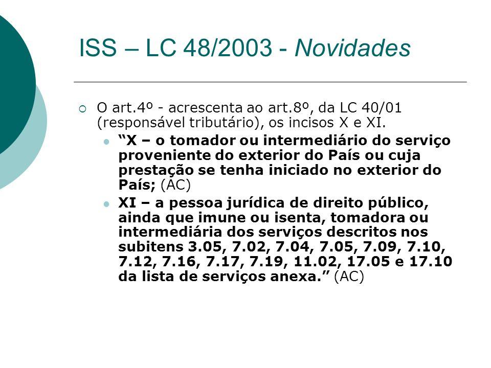 ISS – LC 48/2003 - Novidades O art.4º - acrescenta ao art.8º, da LC 40/01 (responsável tributário), os incisos X e XI.