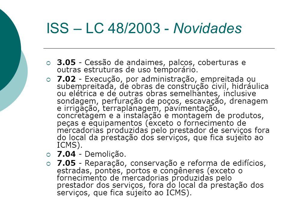 ISS – LC 48/2003 - Novidades 3.05 - Cessão de andaimes, palcos, coberturas e outras estruturas de uso temporário.