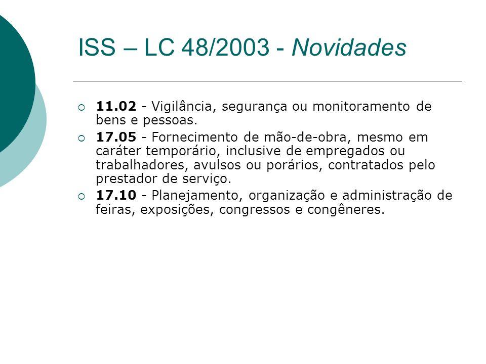 ISS – LC 48/2003 - Novidades 11.02 - Vigilância, segurança ou monitoramento de bens e pessoas.