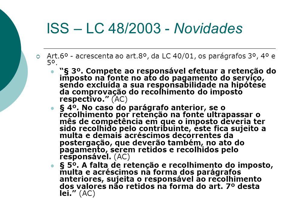 ISS – LC 48/2003 - Novidades Art.6º - acrescenta ao art.8º, da LC 40/01, os parágrafos 3º, 4º e 5º.