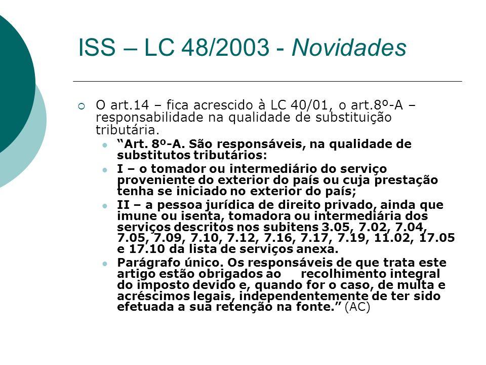 ISS – LC 48/2003 - Novidades O art.14 – fica acrescido à LC 40/01, o art.8º-A – responsabilidade na qualidade de substituição tributária.