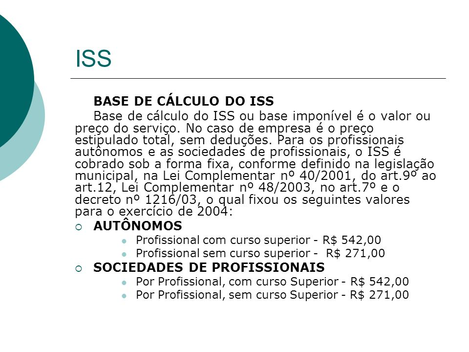 ISS BASE DE CÁLCULO DO ISS