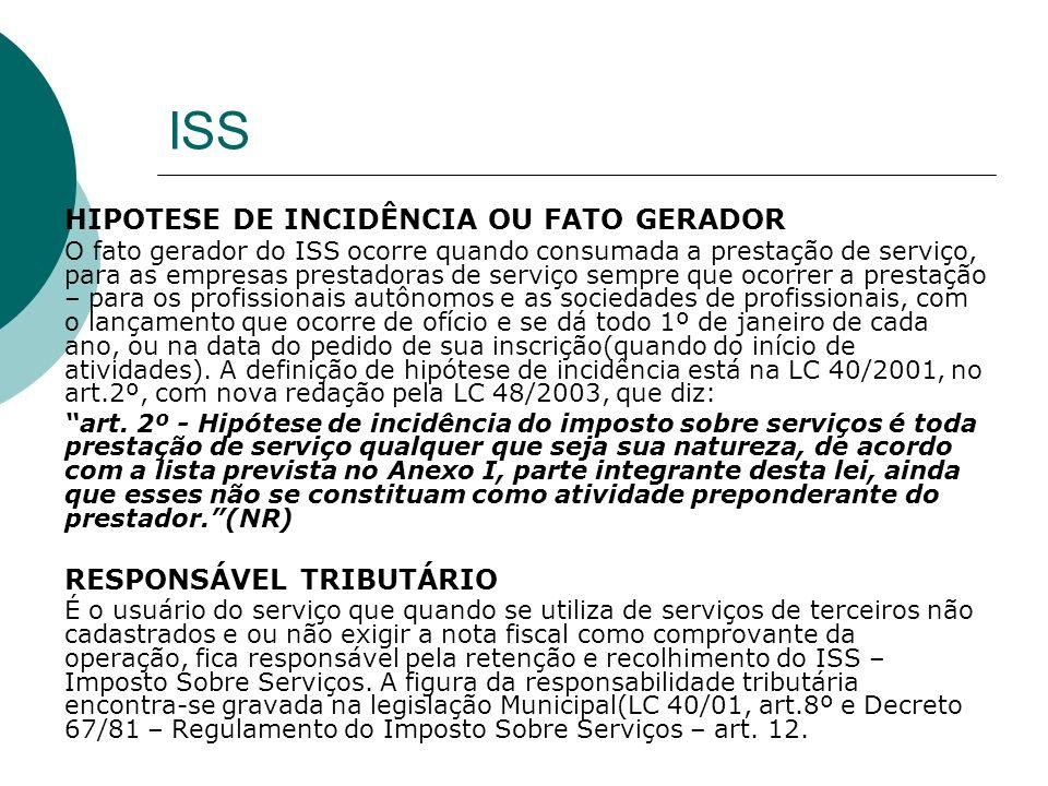 ISS HIPOTESE DE INCIDÊNCIA OU FATO GERADOR RESPONSÁVEL TRIBUTÁRIO
