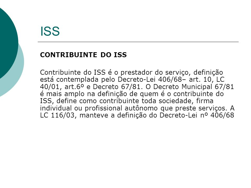 ISS CONTRIBUINTE DO ISS
