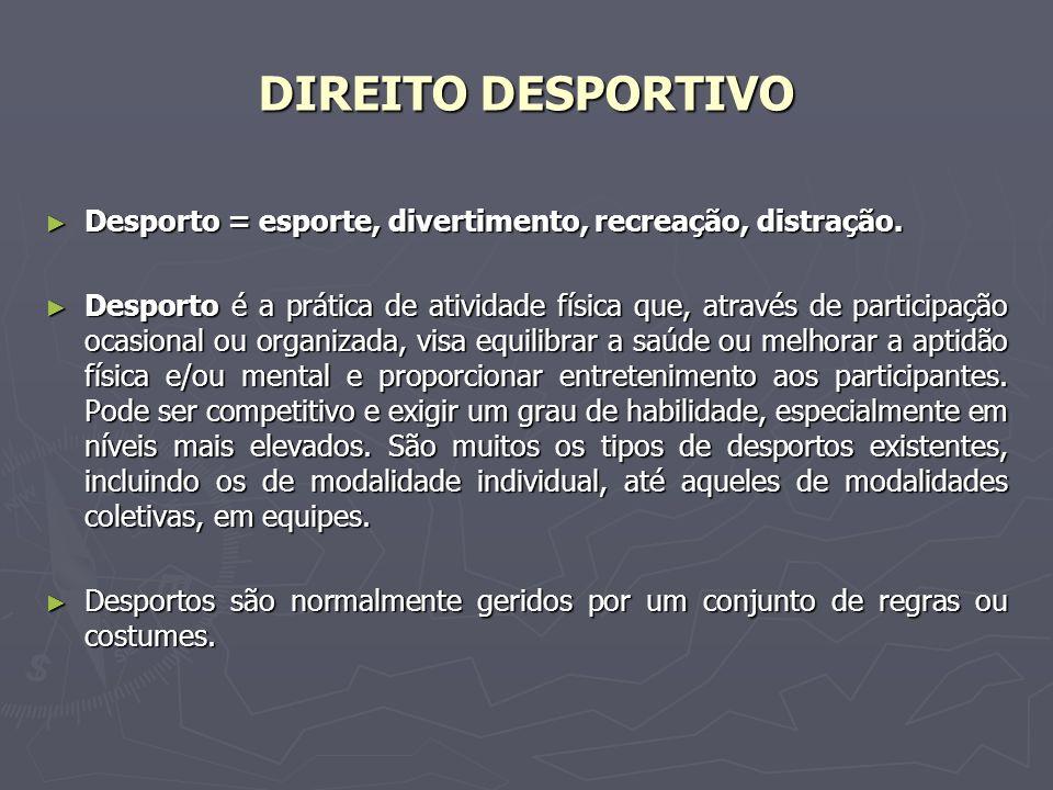 DIREITO DESPORTIVO Desporto = esporte, divertimento, recreação, distração.