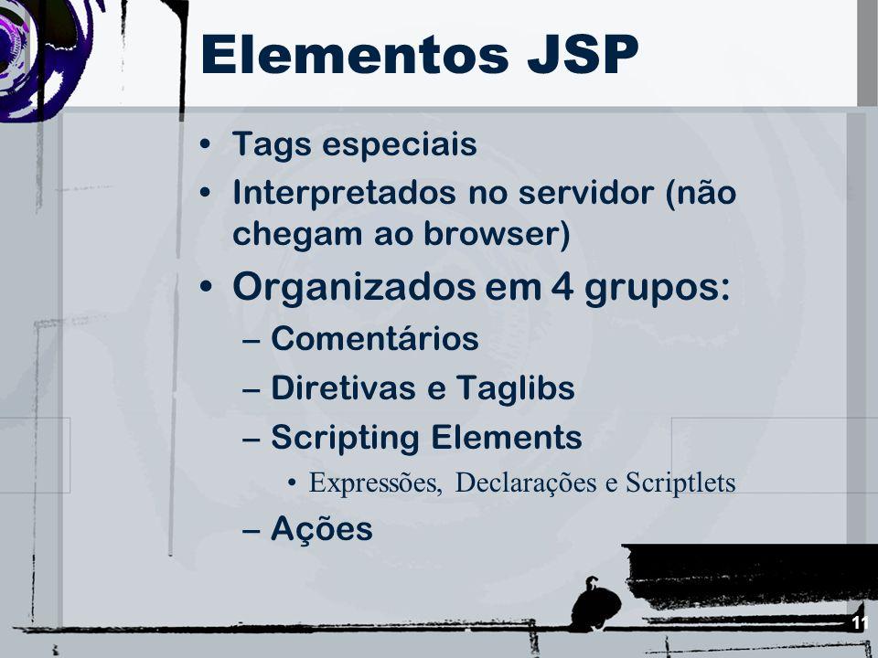 Elementos JSP Organizados em 4 grupos: Tags especiais