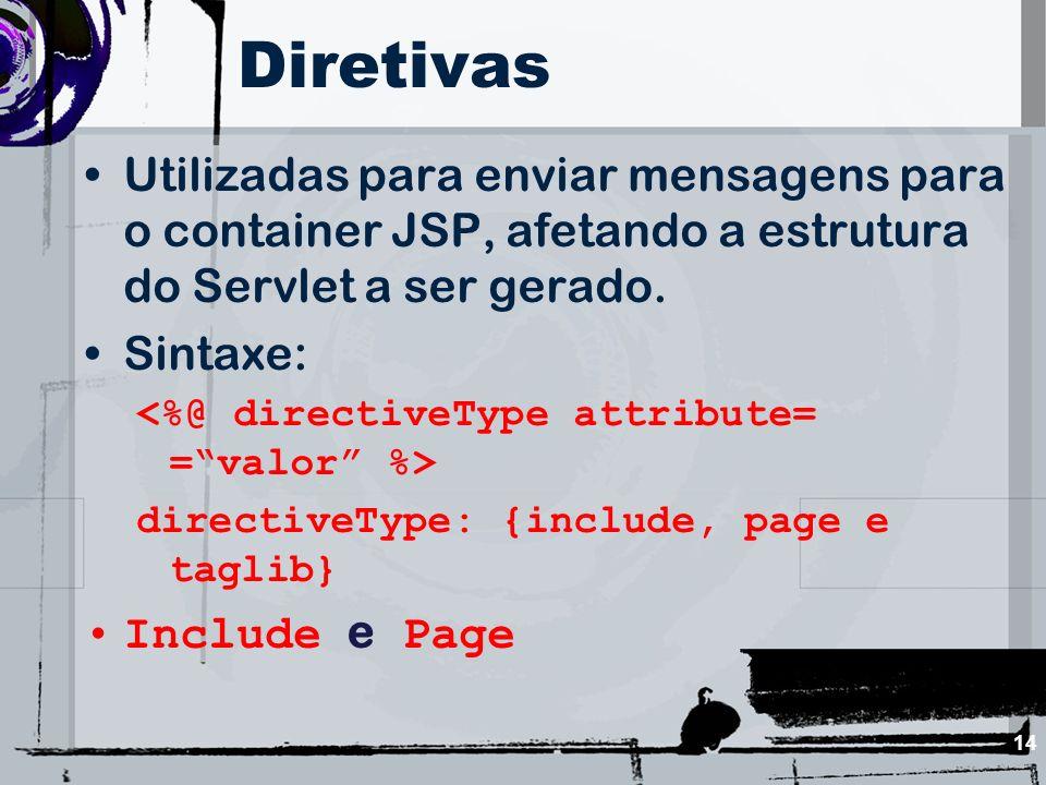 Diretivas Utilizadas para enviar mensagens para o container JSP, afetando a estrutura do Servlet a ser gerado.
