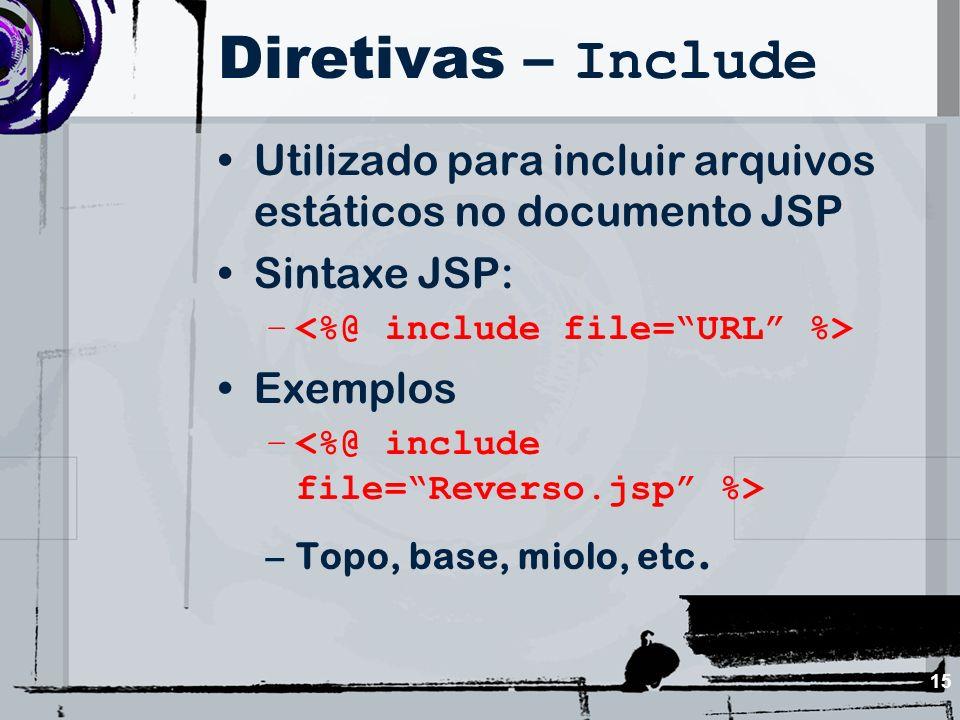 Diretivas – Include Utilizado para incluir arquivos estáticos no documento JSP. Sintaxe JSP: <%@ include file= URL %>