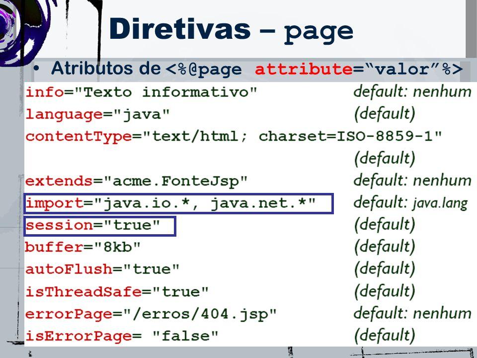 Diretivas – page Atributos de <%@page attribute= valor %>