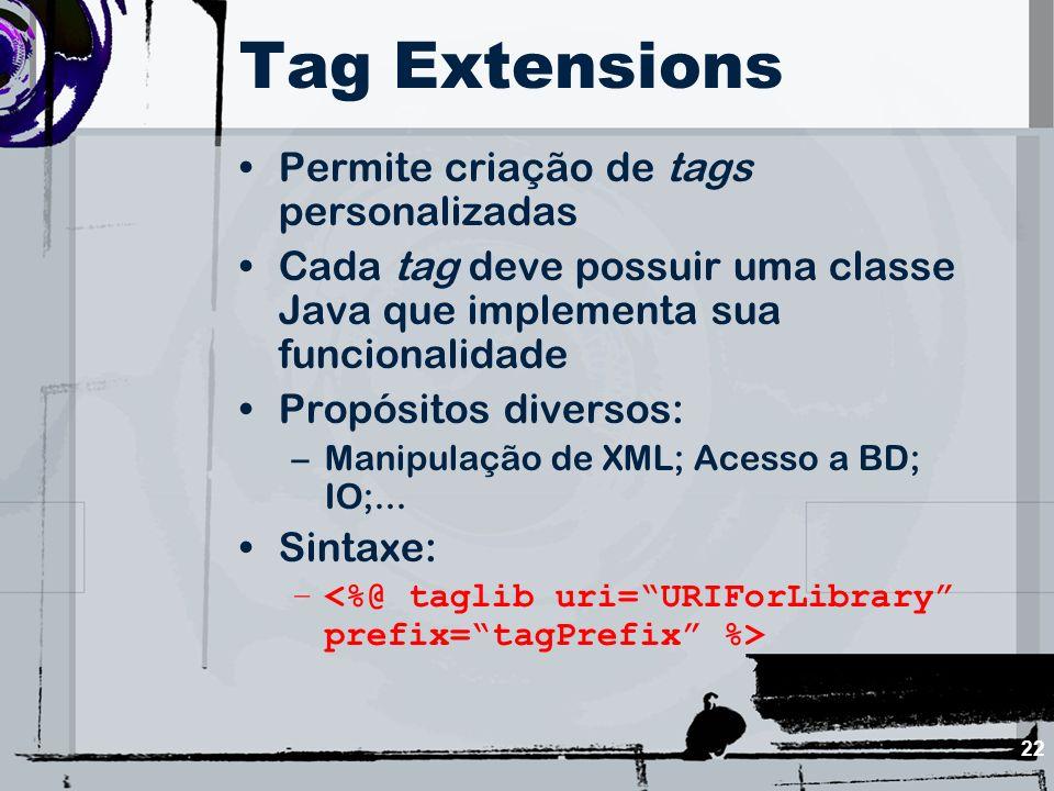 Tag Extensions Permite criação de tags personalizadas