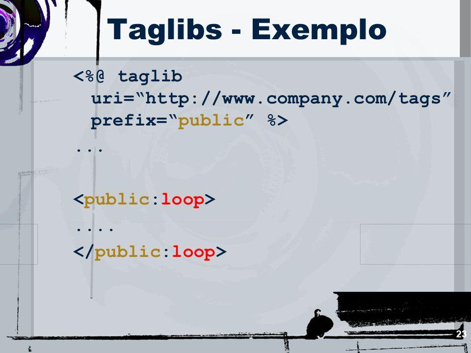 Taglibs - Exemplo <%@ taglib uri= http://www.company.com/tags prefix= public %> ... <public:loop>