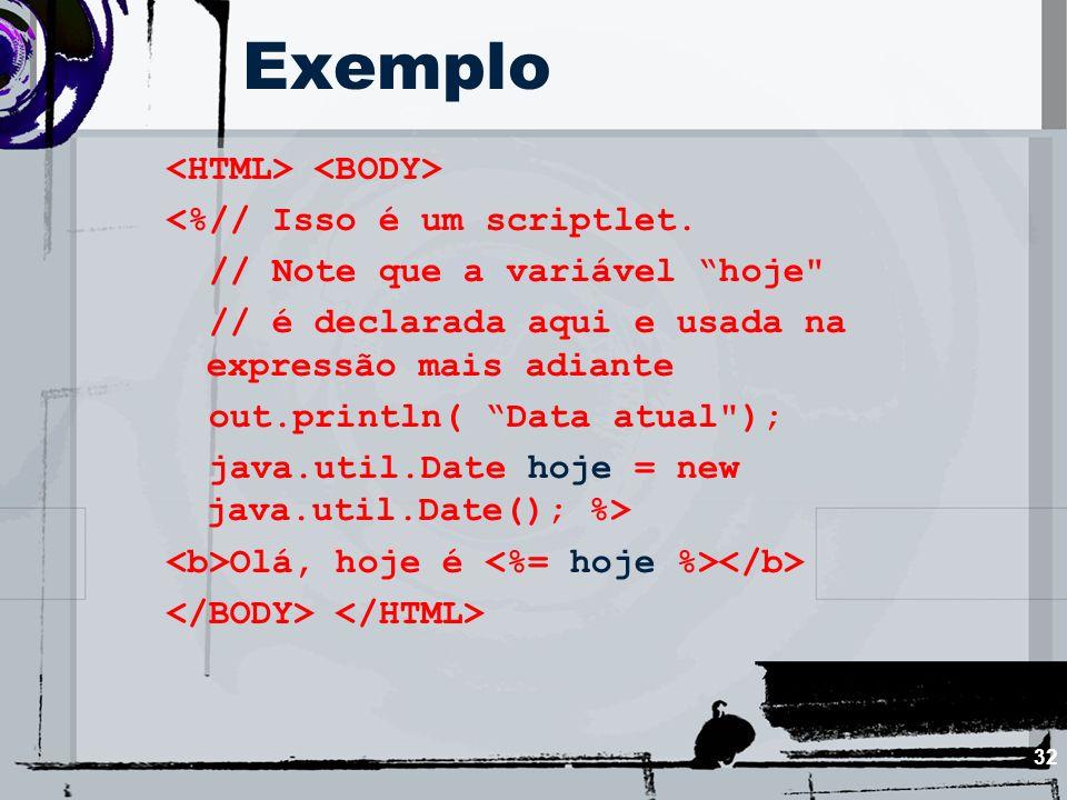 Exemplo <HTML> <BODY> <%// Isso é um scriptlet.