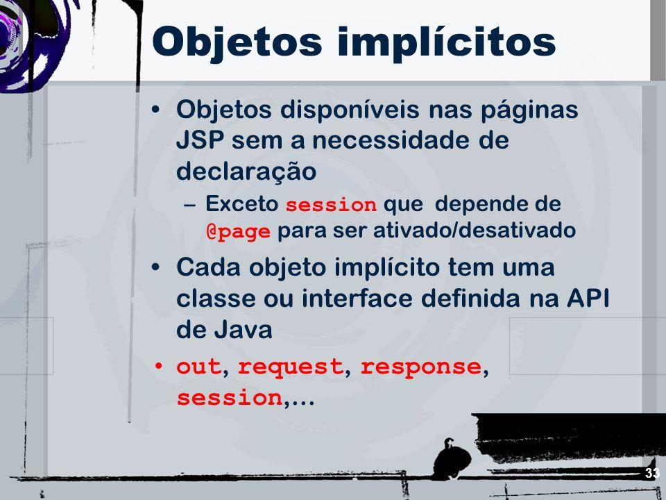 Objetos implícitos Objetos disponíveis nas páginas JSP sem a necessidade de declaração.