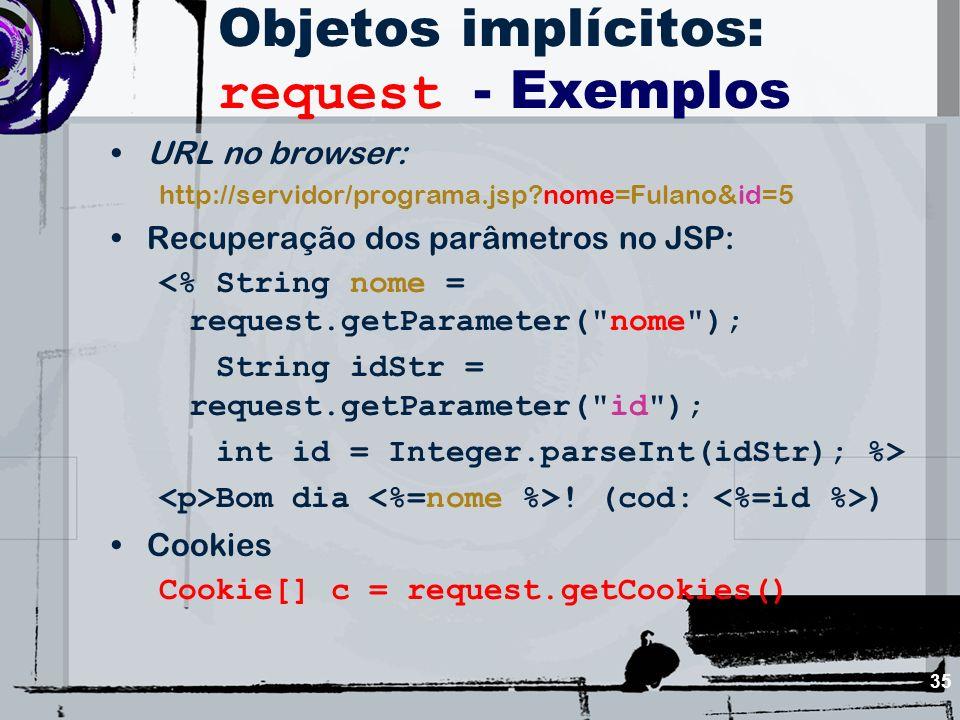 Objetos implícitos: request - Exemplos